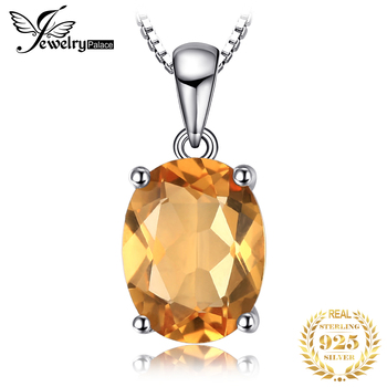 Natural Citrine Pendant Necklace 925 Sterling Silver Gemstones Choker Statement Women silver Jewelry Without Chain