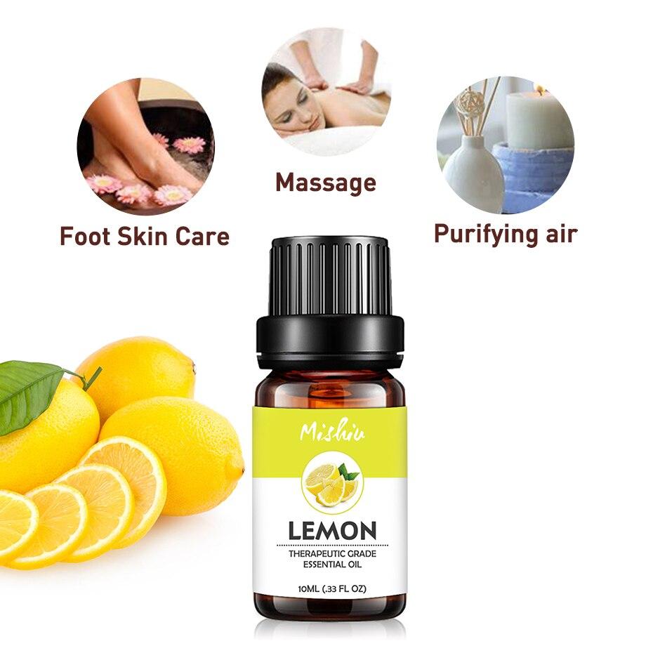 Mishiu Pure Organic Essential Oils For Aromatherapy Diffusers Lemon Peppermint Lavender Geranium Juniper Rose Fragrance Olis10ML