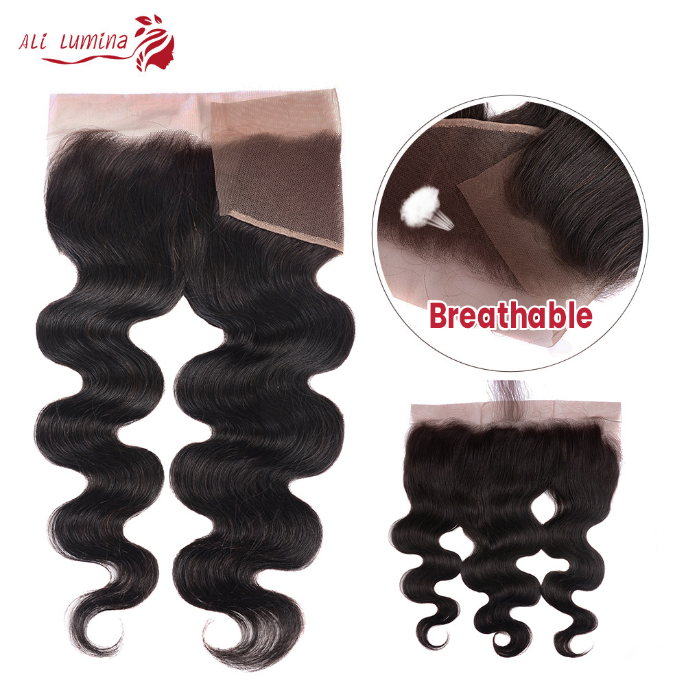 Body Wave 13x4 4x4 Lace Frontal  Closure with Baby Hair  Jet Black Natural Hairline Free Part Lace Closure 3