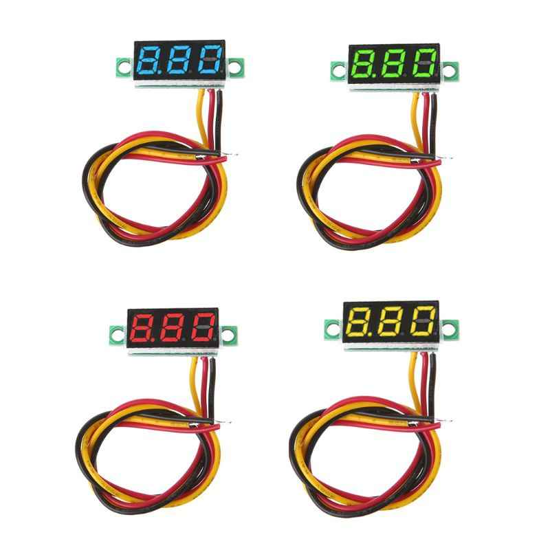 0.28 pouces Mini DC 0-100V 3 fils affichage de LED voltmètre numérique jauge tension panneau compteur détecteur moniteur outils en gros