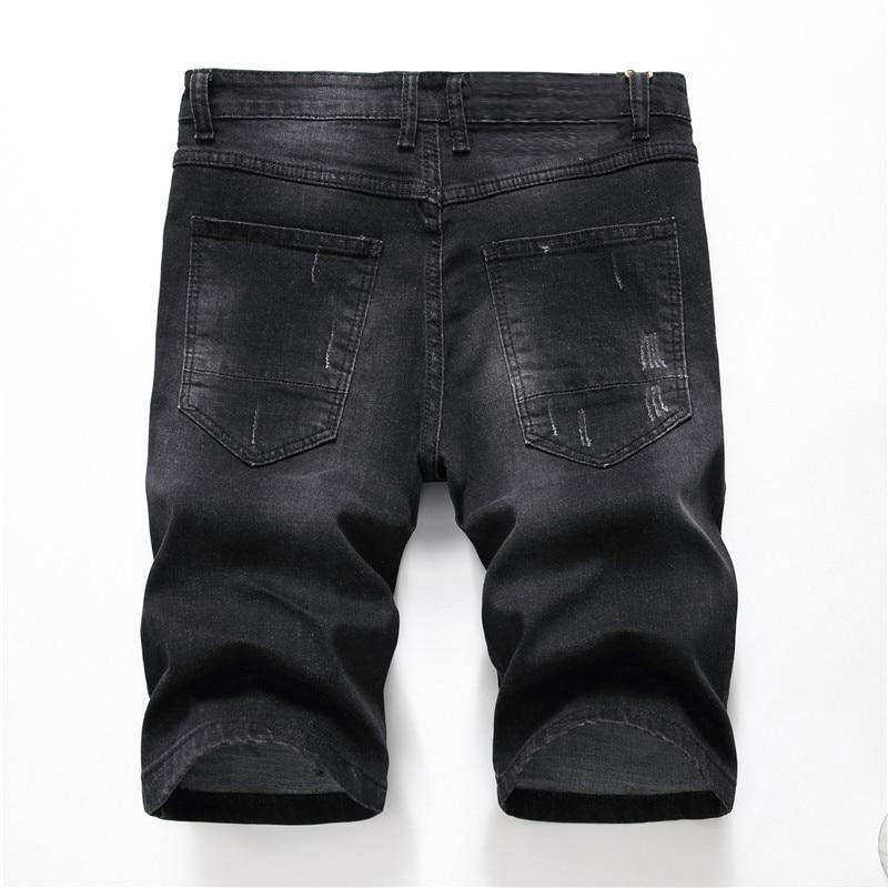 New Ripped Stretch Men's Jeans Capri Fashion Jeans Shorts Men's Straight Slim Fit Bermuda Short Breathable Denim Shorts Male