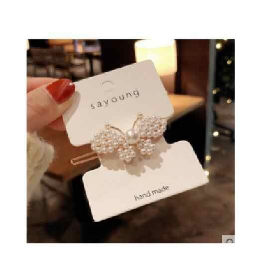 Coreia do sul pérola flor barrettes sapo bowtie borboleta bang clip barrettes acessórios para o cabelo