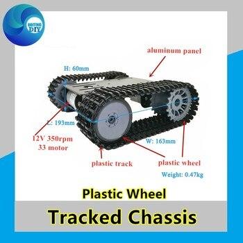Plataforma de Robot oruga de oruga con chasis de tanque inteligente con doble motor DC 12V para rueda Arduino T101-Plastic