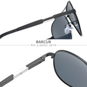 Image 2 - BARCUR Aluminium Magnesium Polarisierte Sonnenbrille Männer Fahren Spiegel Sonnenbrille Männlichen Oculos