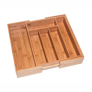 Bamboo Expandable Drawer Organizer Premium Cutlery and Utensil Tray 100% Pure Bamboo Adjustable Kitchen Drawer Divider