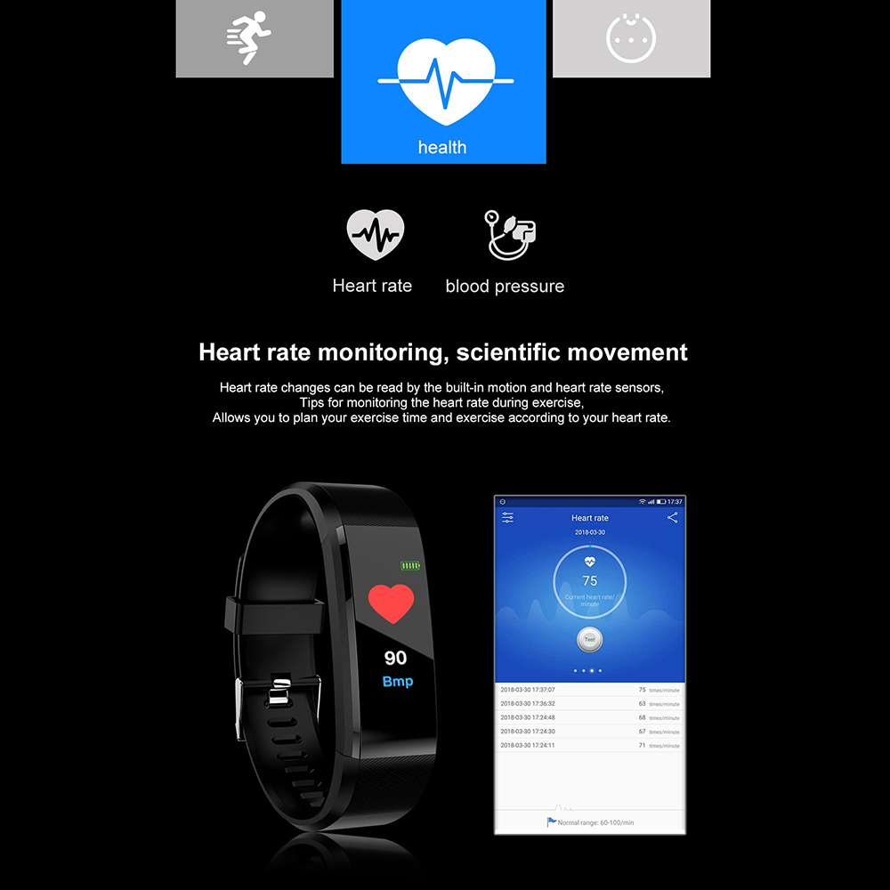 H5015f3c17d894ec3acde5340f3407553n VIKEFON Smart Bracelet id115 plus Color Screen Sport Pedometer Watch Smartband Fitness Traker Bluetooth Waterproof Smart Band