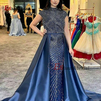 High Neck Satin Evening Dress for Women 2020 Beads Handmade Luxury Long Formal Party Gown