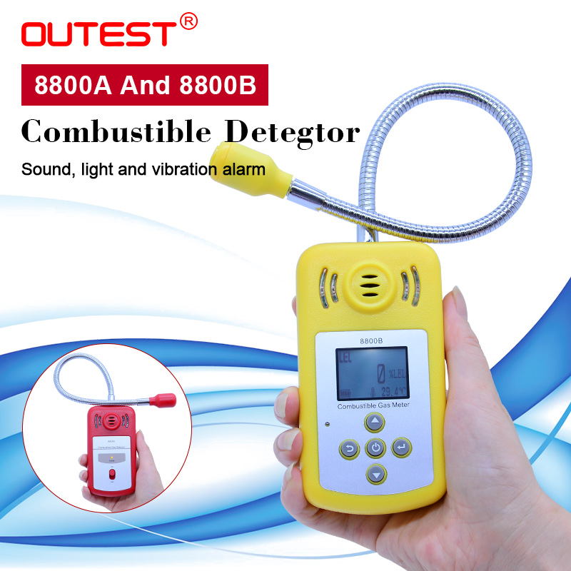 OUTEST LCD gas analyzer Combustible gas detector Portable gas Leak Detector, long probe air quality monitor Sound Light Alarm-in Gas Analyzers from Tools    1