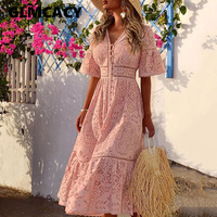 Women Elegant Embroidered Lace Dress Pink Buttons High Waist Female Dress Floral Hollow Out Slim Party Vestidos