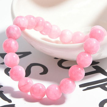 Wholesale Pink Rose Powder Crystal Quartz Natural Stone Streche Bracelet Elastic Cord Pulserase Jewelry Beads Lovers Woman Gift image