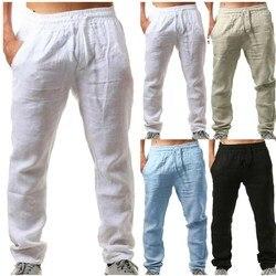 2020 Summer Men Cotton Trousers Linho Verao Calcas Dos Homens Com Cordao Loose Pants Men Solids Harem Linen Trousers pants m-3xl