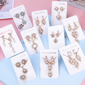 Vintage Imitation Pearl necklace Gold Color jewelry set for women Clear Crystal Elegant Party Gift Fashion Costume Jewelry Sets(China)