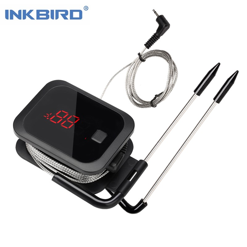 Inkbird食品調理BluetoothワイヤレスBBQ温度計IBT-2Xオーブン肉グリル無料アプリコントロール用の二重プローブとタイマー付き