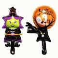 Специальное предложение, украшение для вечеринки на Хэллоуин, шар из алюминиевой фольги, привидение желтой тыквы, черный паук, ведьма, летуч...
