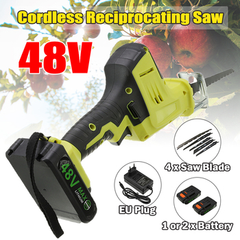 48V Cordless Reciprocating Saw Portable Electric Saw Blade Li-Ion Battery Electric Saber Saw For Wood Metal Cutting Power Tool portable rechargeable reciprocating saw wood cutting saw 20v 3000mah electric wood metal plastic saw