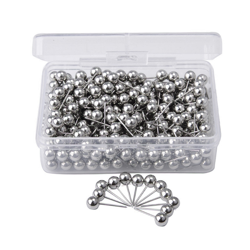 Map Tacks Push Pins, With 1/ 5 Inch Round Plastic Head And Steel Point, 400 PCS (Silver)