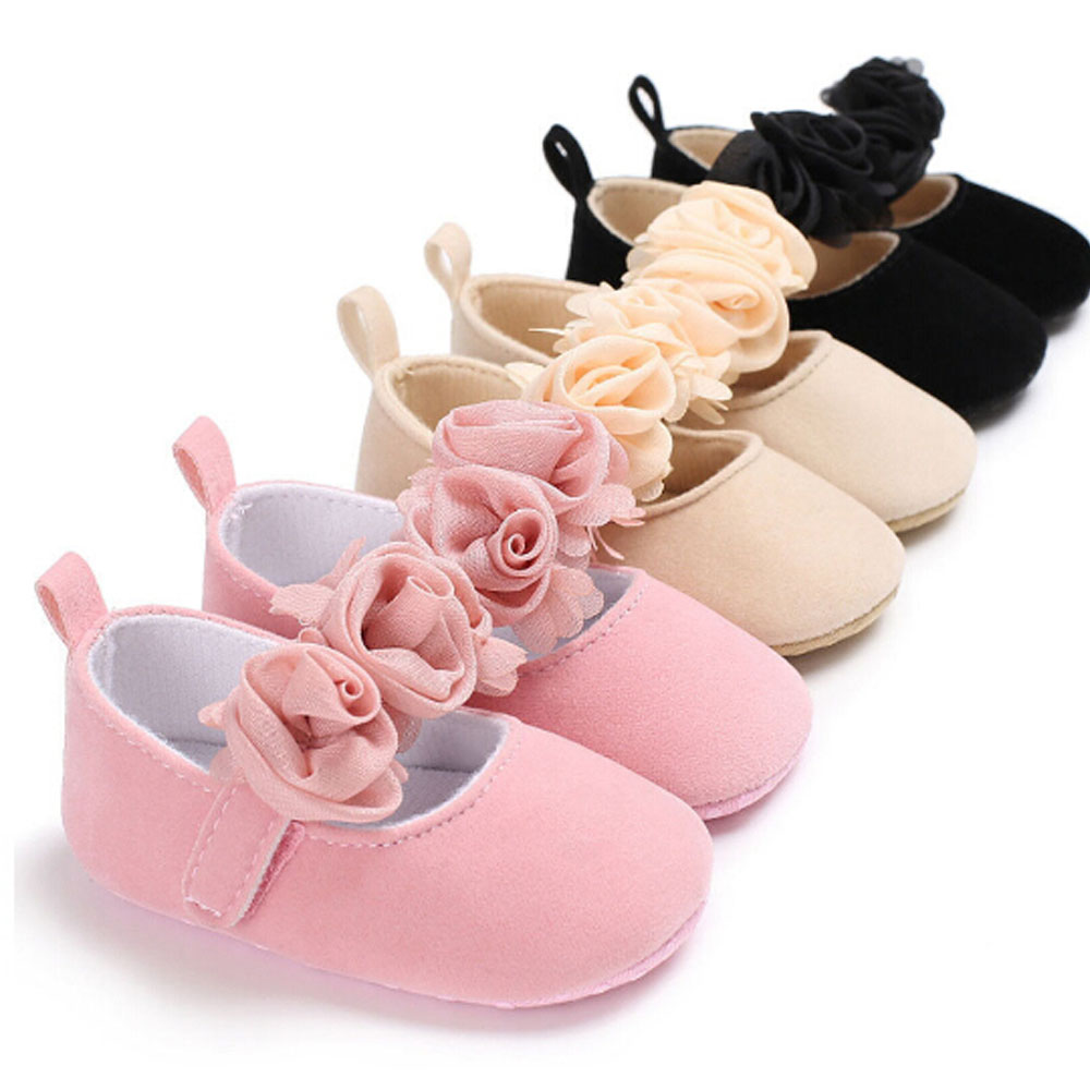 3 Sizes Baby First Walkers With Flower Newborn Toddler Girl Crib Shoes Pram Soft Sole Prewalker Anti-slip Sneakers Dance Shoes
