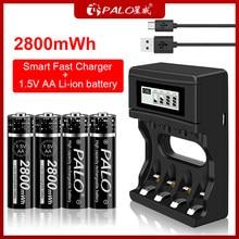 Bateria recarregável recarregável quente nova do li-íon do aa 1.5 v da bateria 1.5 v de palo e carregador das baterias de lítio de 1.5 v