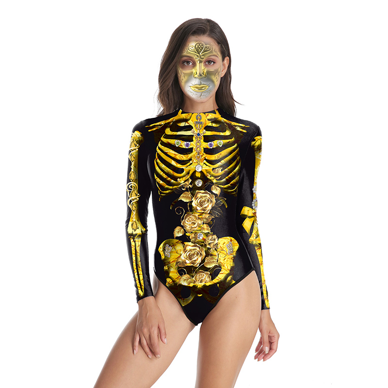 Halloween Print Women Bodysuit 3D Gold Skeletons Rose Long Sleeve Costumes Lady Gothic Party Cosplay   Jumpsuits