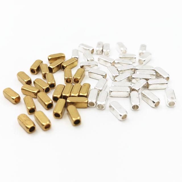 Sześćdziesiąt TOWFISH 50 sztuk DIY biżuteria akcesoria rozmiar 2 5*6mm materiały mosiężne z otworem fazowane koraliki tanie tanio SIXTY TOWFISH CN (pochodzenie) Crimp end koraliki 0inch Spacers beads linki do biżuterii Metal Miedziane FJ00725 Brass