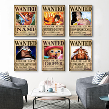 Canvas Painting Posters Decorative-Picture Wanted Prints One-Piece Luffy Anime Home Wall-Art