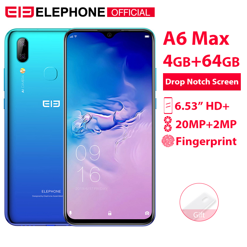 Elephone A6 Mini, 4 ГБ, 64 ГБ, 5,71 дюймов, экран капли воды, мобильный телефон, Android 9,0, MT6761, четыре ядра, HD + 16 МП, 3180 мАч, 4G смартфон - 2