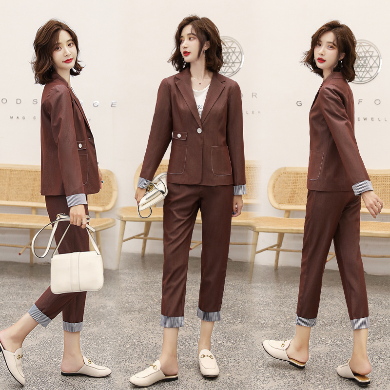 Women's suit 2019 autumn new casual fashion temperament Slim solid color single buckle small suit trousers two-piece 25