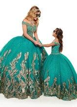 Glitter Green Beading Organza Ball Gown Quinceanera Dresses 2021 off Shoulder Sweet 16 Party Dress Vestidos De 15 Anos Gold Lace