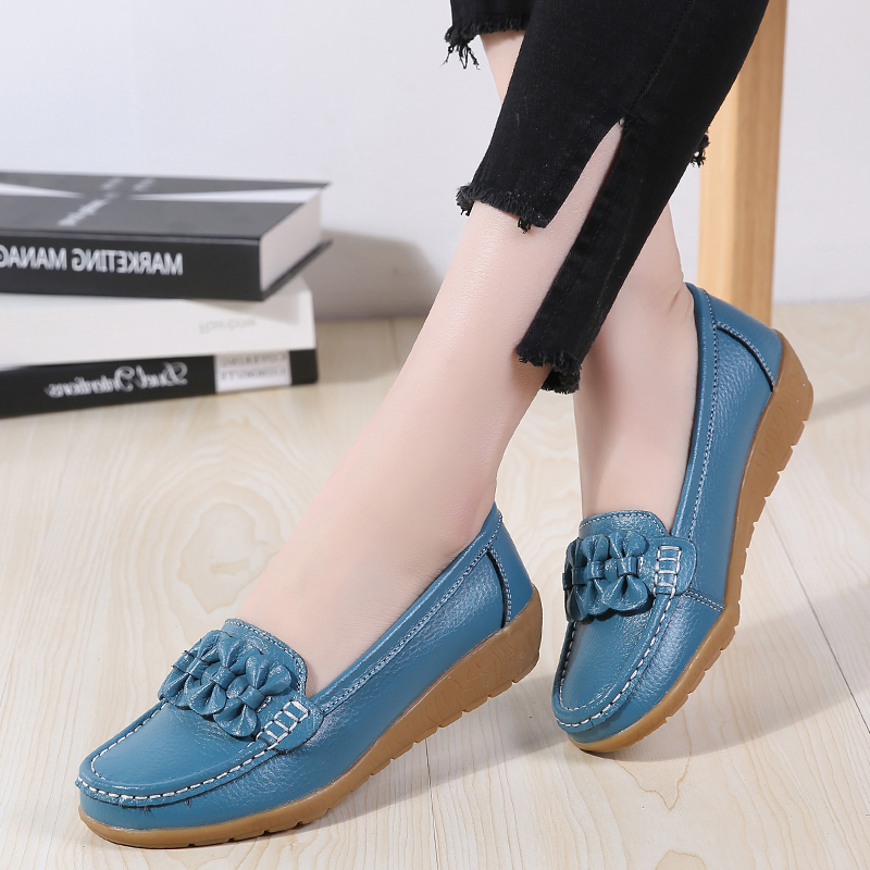 New Women Flats Genuine Leather Shoes Woman Soft Boat Shoes For Women Flats Shoes  Ladies Loafers Non-Slip Sturdy Sole Big Size