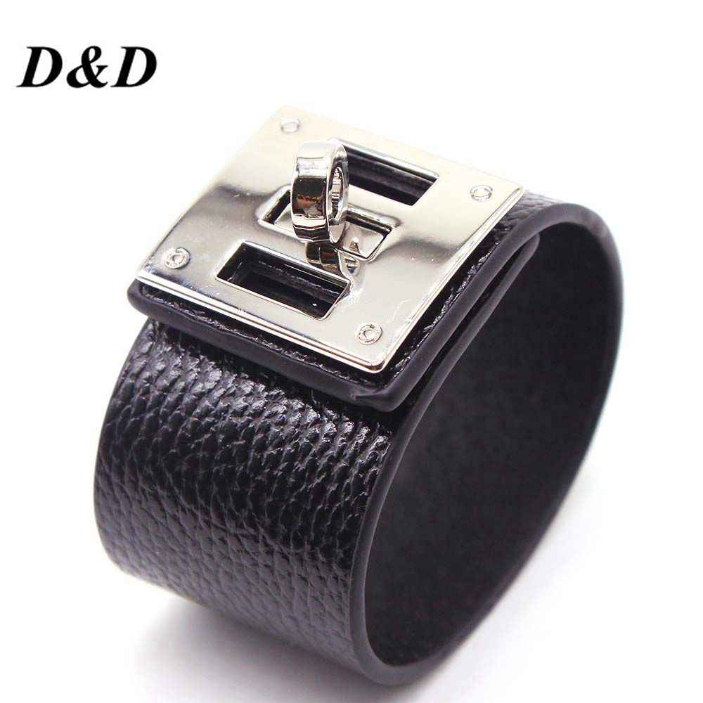 D&D European Fashion Punk Wide circular silver Leather Bracelets & Bangles for Women Men Cuff Bracelet Statement Jewelry