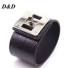D&D European Fashion Punk Wide circular silver Leather Bracelets & Bangles for Women Men Cuff Bracelet Statement Jewelry