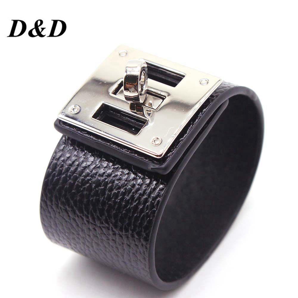 D&D European Fashion Punk Wide circular silver color Leather Bracelets & Bangles for Women Men Cuff Bracelet Statement Jewelry