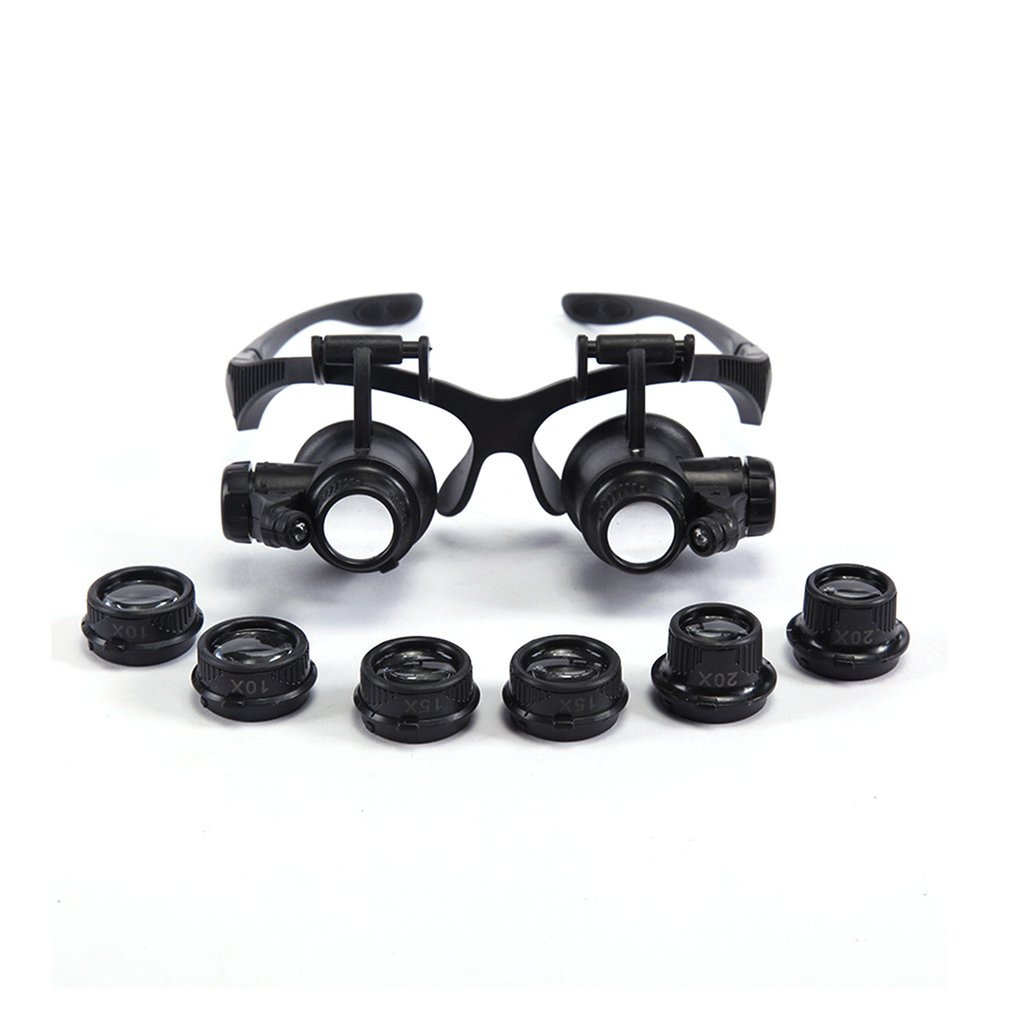 Portable Led Double Eye Glasses Abs + Acrylic Durable Retractable Watch Repair Tool Loupe Magnifier Measurement