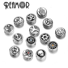 REAMOR Stainless Steel Evil Eyes Cross Anchor Sun Taiji Yoga David Star Spacer Charm  Beads For DIY Bracelet Jewelry Findings
