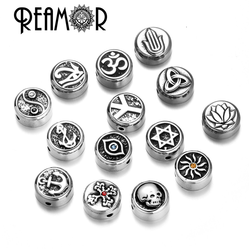 REAMOR Stainless Steel Evil Eyes Cross Anchor Sun Taiji Yoga David Star Spacer Charm Beads For DIY Bracelet Jewelry Findings(China)