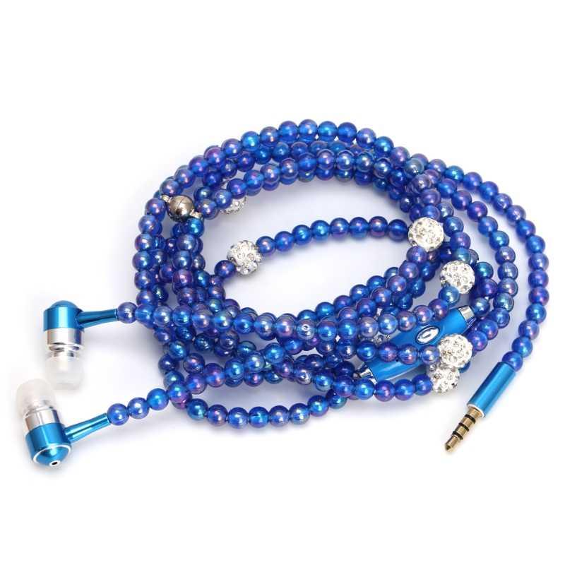 高級真珠のネックレスのチェーンイヤホンステレオハイファイ有線スマートフォン