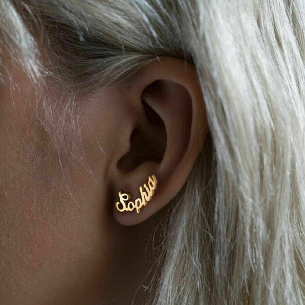 Name Personalized Earrings Custom Monogram Initial Stud Ear Rings Steel For Women Bar Wedding Party Body Jewelry Piercing Oreja