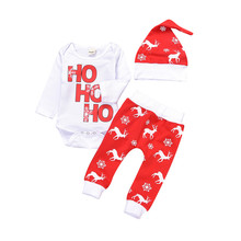 цена на Baby Winter Clothes Newborn Infant Baby Boy Girl Romper Tops+Pants Christmas Deer Outfits Set 9.7