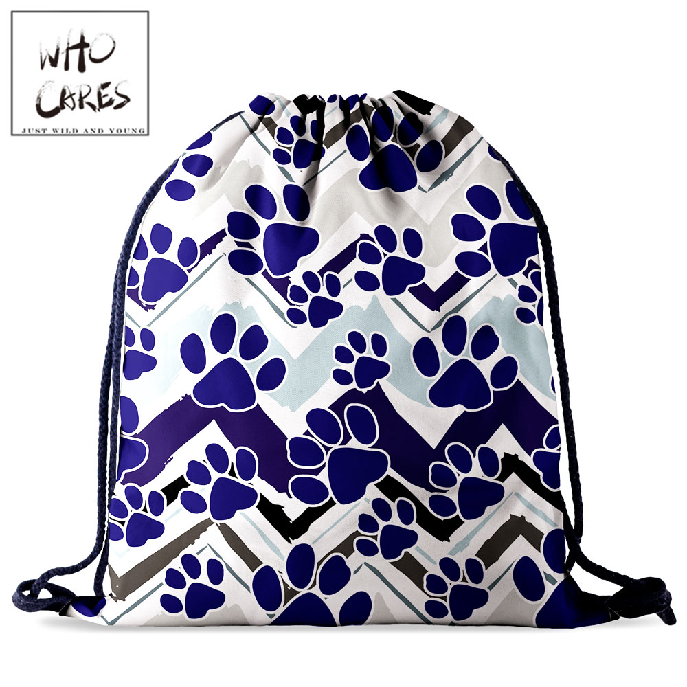 Who Cares Women Backpack Gym Drawstring Bag Cat Claw 3D Printing Gift Shoes Storage Bag Portable Outdoor Rucksack Travel Bag