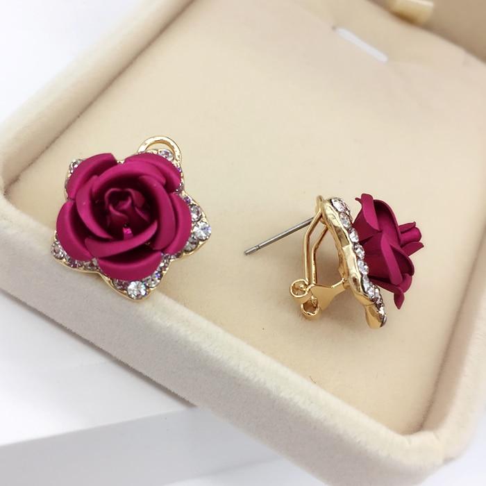 Cercei cu flori din aur roz Culoare floare Roșu Albastru Purpuriu CZ - Bijuterii de moda - Fotografie 5