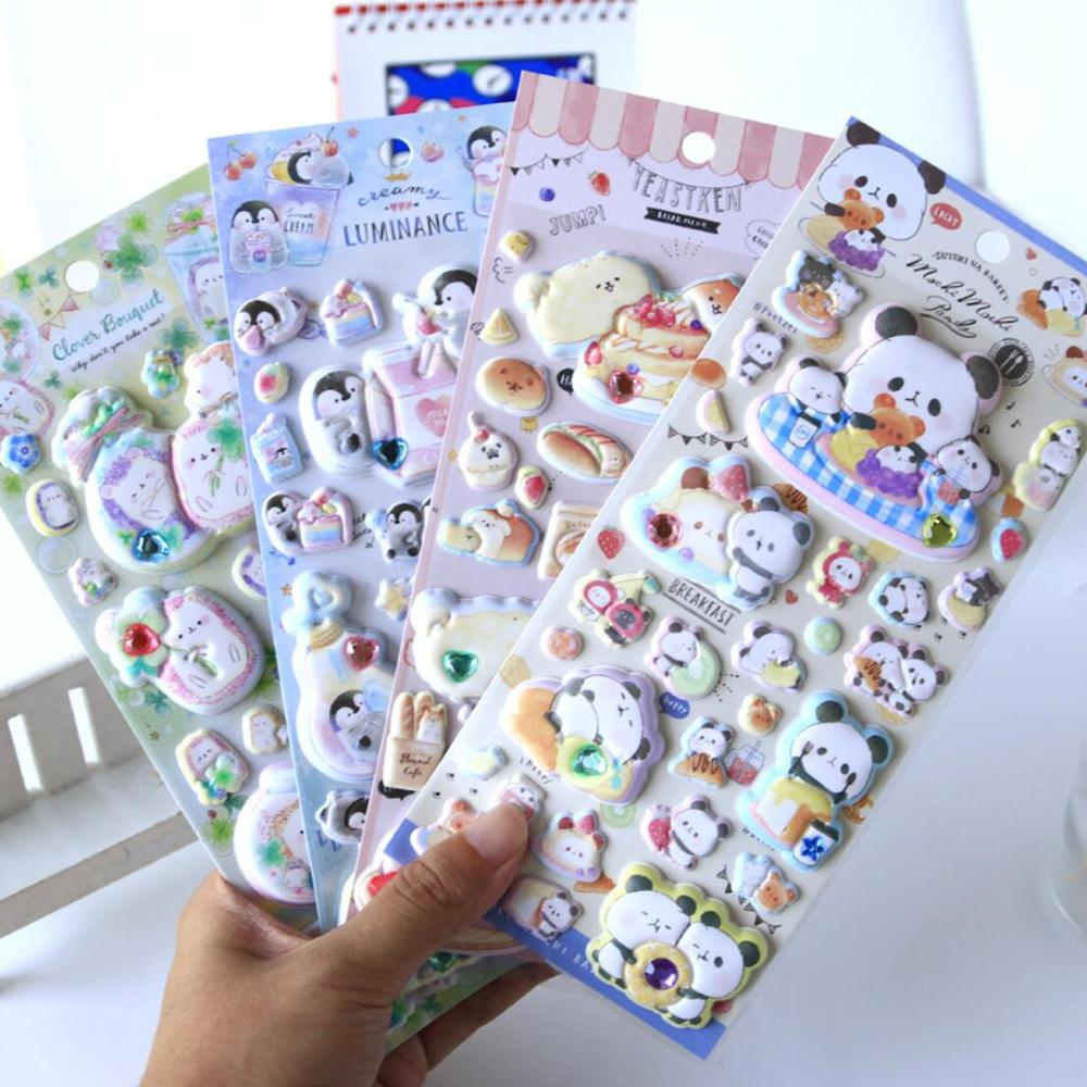 Kawaii Chunky Penguin Panda Animals Fragrance 3D Decorative Journal Stickers Scrapbooking Stick Label Diary Stationery Stickers