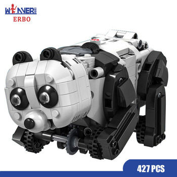 ERBO 427PCS Technology Building Block Technic Electric Panda Animal Robot Model DIY Bricks Educational Toys for Kids Gift