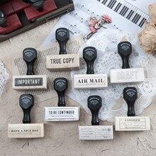 Винтажная воздушная почта этикетка деревянная ручка планировщик деревянная резиновая печать набор для DIY Скрапбукинг карты украшения тиснение ремесло