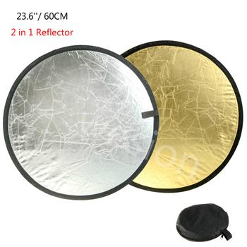 23 6 #8222 60 cm 2 w 1 składany przenośny odbłyśnik okrągły Photo Studio dyfuzor tarczowe z tyłu złota srebrny Studio fotografia reflektor tanie i dobre opinie CN (pochodzenie) 60-2in1GS 23*23*5 ROUND 0 17