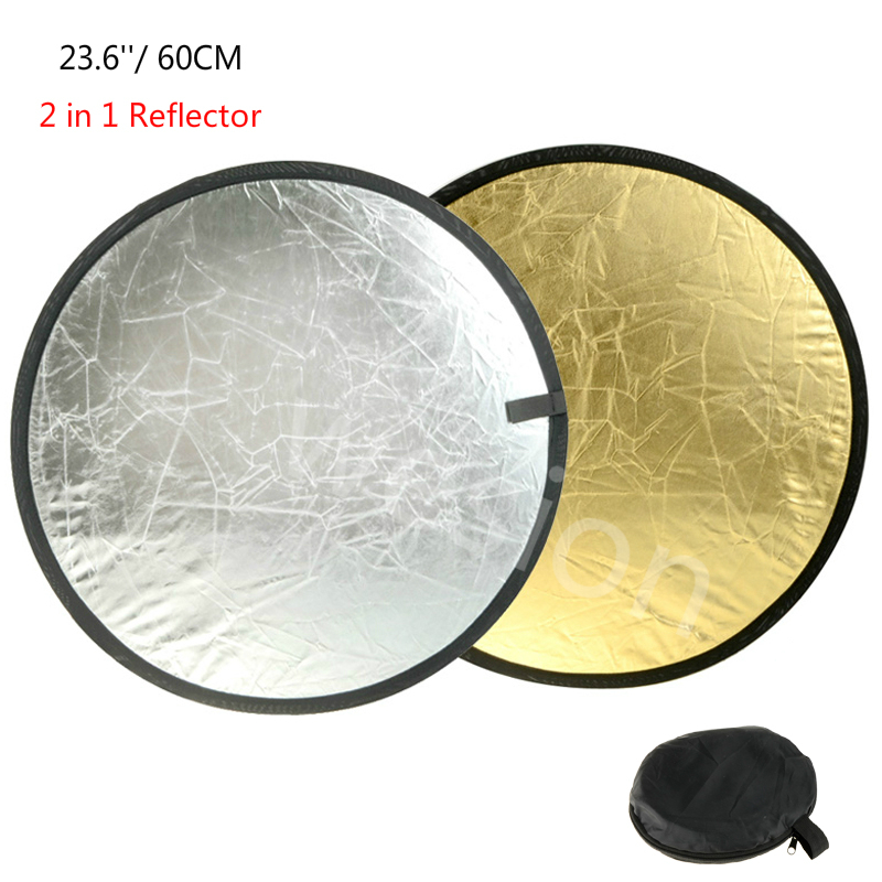 "23.6"" 60cm 2 in 1 Collapsible Portable Light Reflector Round Photo Studio Diffuser DISC Gold Silver Studio Photography Reflector|Reflector| |  - title="