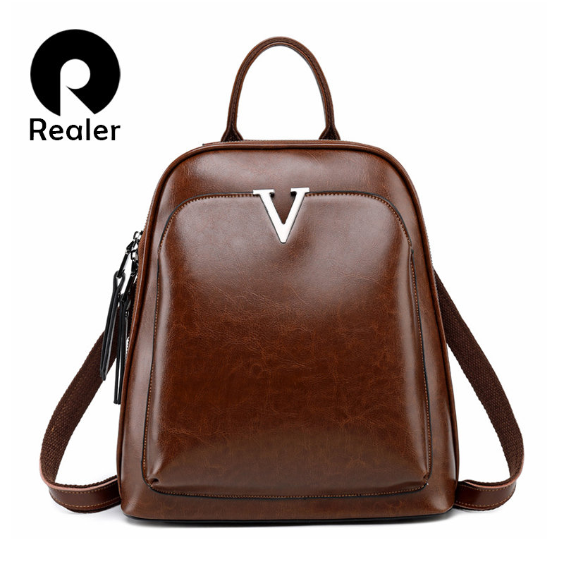 Realer Women Backpack School Bags For Teenager Girls Spilt Leather School Backpack For Women Large Capacity Mochila Brown 2019