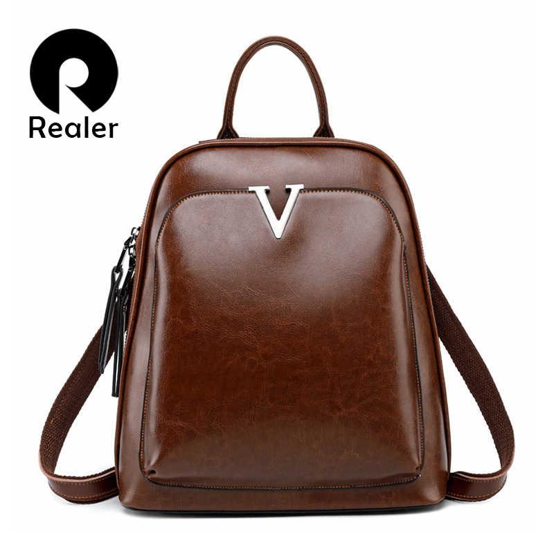 Realer kadın sırt çantası okul çantaları genç kızlar için bölünmüş deri okul sırt çantası kadınlar için büyük kapasiteli mochila kahverengi 2019