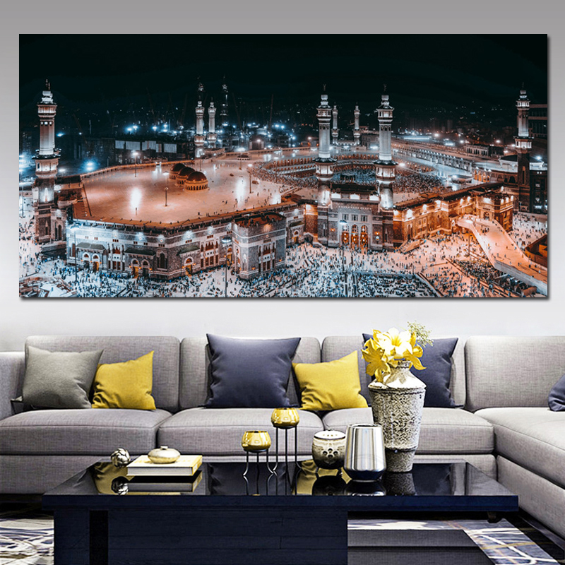 Mecca Islamic Sacred Landscape HD Print Canvas Painting Religious Architecture Muslim Mosque Wall Art Picture Home Decor Cuadros 1