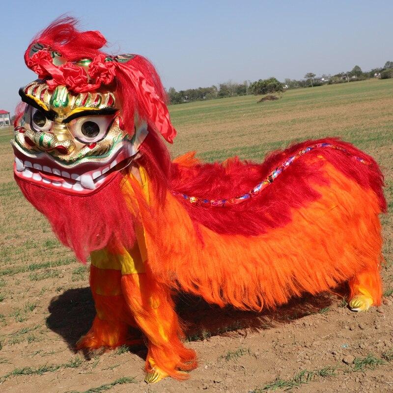 Nouveau Lion danse tenue Lion danse Costume laine fait à la main scène accessoires Lion danse vêtements défilé publicité pour deux adultes