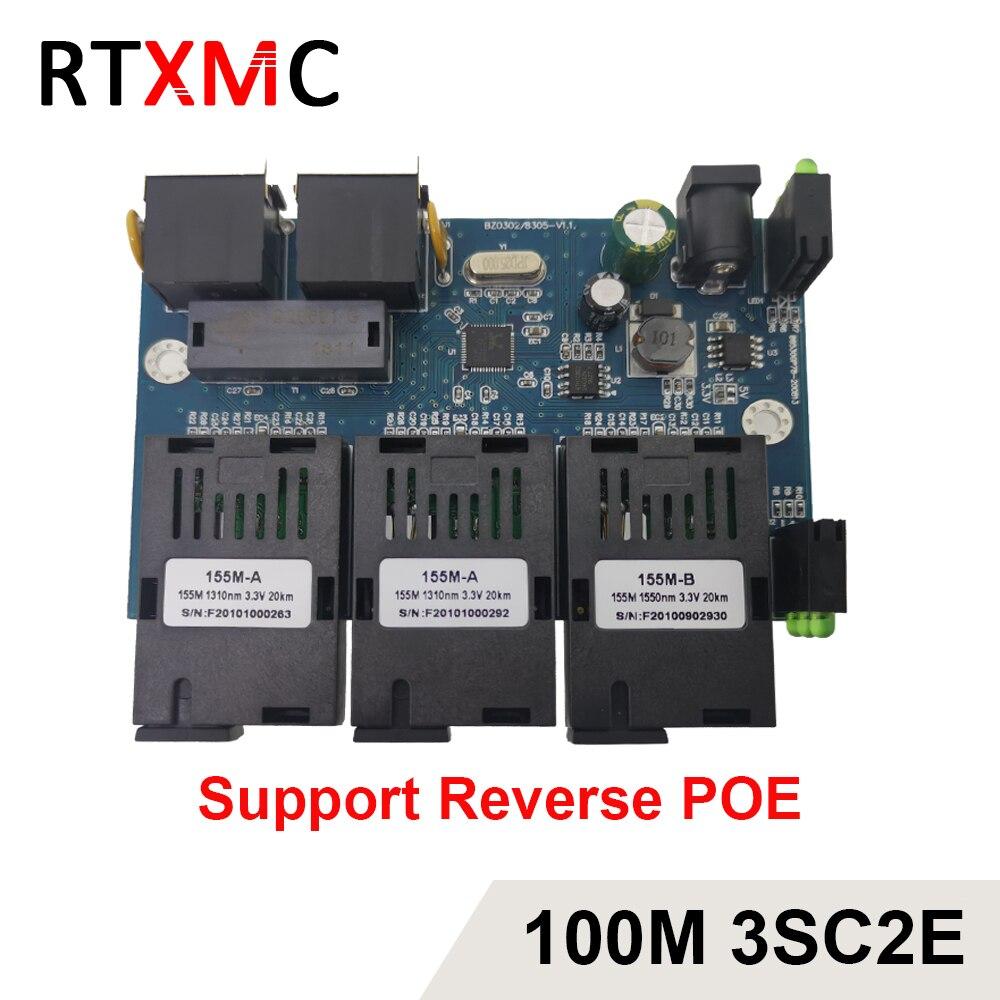 3sc2e reverso poe 100m rápido erhetnet 10/100m ethernet switch 3 fibra porto sc 25km2utp rj45 fibra óptica switch pcba com adaptador